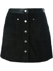 Rag And Bone Button Fastening Straight Skirt Black