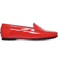 Tod's Tods Gomma Patent Leather Penny Loafers Orange