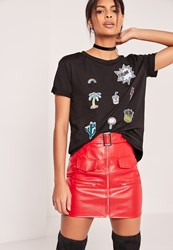 Missguided Patch T Shirt Black