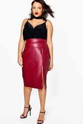 Boohoo Yas Leather Look Midi Skirt Burgundy