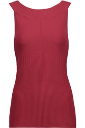 Autumn Cashmere Ribbed Stretch Knit Top Red