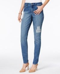 Style And Co Railroad Stripe Patched Skinny Jeans Only At Macy's Camino