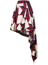 Calvin Klein 205W39nyc Mixed Print Asymmetric Skirt Red