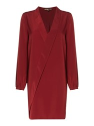 Biba Ruffle Front Collar Detail Plain Dress Berry