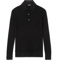 Tom Ford Slim Fit Waffle Knit Cotton Blend Polo Shirt Black