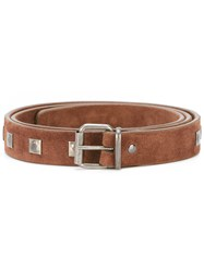 Massimo Alba Studded Belt Men Suede Metal 90 Brown