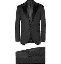Brunello Cucinelli Charcoal Slim Fit Wool Silk And Cashmere Blend Tuxedo Charcoal
