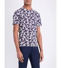 Sandro Wave Print Pure Cotton T Shirt Navy Blue