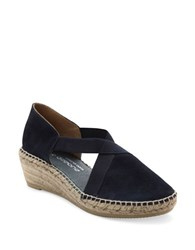 Andre Assous Conner Espadrille Leather Sandals Navy Blue