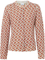 Burberry Monogram Print Merino Wool Cardigan Red