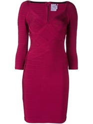 Herve Leger Woven Effect Fitted Dress Red