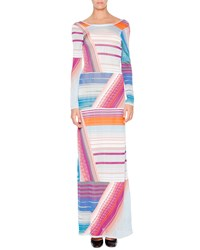 Missoni Long Sleeve Intarsia Striped Gown Gray Blue Orange Magenta Gry Blu Orang Mag