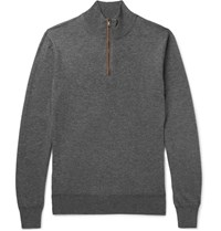 Hackett Slim Fit Suede Trimmed Wool And Cotton Blend Half Zip Sweater Gray
