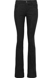 Tom Ford Woman Leather Trimmed Low Rise Slim Leg Jeans Black