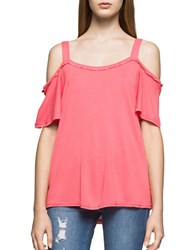 Ck Calvin Klein Ruffled Cold Shoulder Top Pink