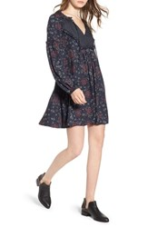 Hinge Mix Print Peasant Dress Navy Night Woven Floral Mix