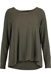 Zimmermann Swing Striped Stretch Jersey Top Army Green