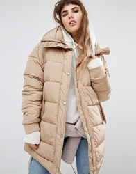 Puffa Oversized Longline Padded Jacket With Fishtail Detail Beige
