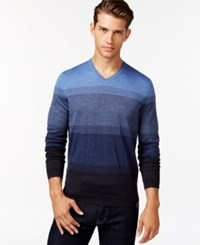 Calvin Klein Simple Ombre Stripe V Neck Sweater Shuttle Blue Heather
