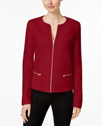 Charter Club Wool Zip Front Cardigan Only At Macy's New Red Amore