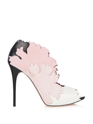 Alexander Mcqueen Kimono Flower Suede And Leather Shoes