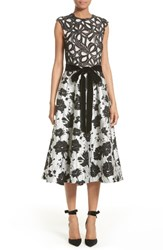 Monique Lhuillier Women's Lace And Jacquard Tea Length Dress