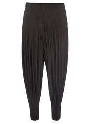 Homme Plisse Dropped Crotch Pleated Trousers Black