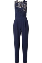 Alice Olivia Jeri Guipure Lace And Crepe Jumpsuit Navy