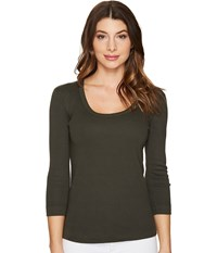 Three Dots 3 4 Sleeve Scoop Neck Tapenade Women's Long Sleeve Pullover Brown