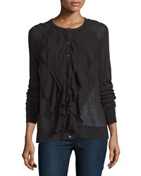 Haute Hippie Ruffle Front Ribbed Cardigan Black