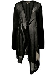 Yohji Yamamoto Abstract Intersia V Neck Cardigan Women Linen Flax Polyester 2 Black