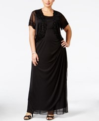 Msk Plus Size Gown And Beaded Jacket Black