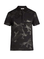 Valentino Camouflage Cotton Polo Shirt Black