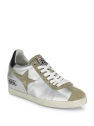 Ash Guepard Ter Metallic Leather And Suede Wedge Sneakers Silver