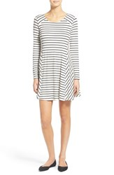 Women's Lush 'Lauren' Long Sleeve Shift Dress White Black Stripe