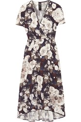 Zero Mariacornejo Isie Printed Stretch Silk Charmeuse Dress Blue