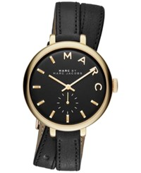 Marc Jacobs Women's Sally Black Double Wrap Leather Strap Watch 36Mm Mbm8663 Gold