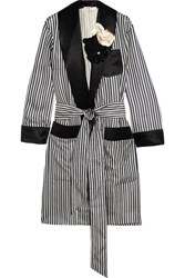 Lanvin Appliqued Striped Satin Jacket Navy