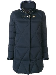 Fay Quilted Zipped Up Jacket Silk Feather Down Polyamide Viscose Xxl Blue