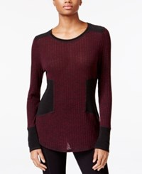 Rachel Roy Colorblocked Combo Sweater Dark Pinot Noir