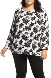 Vince Camuto Small Fresco Blooms Bell Sleeve Blouse Plus Size White