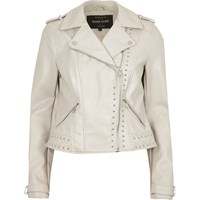 River Island Womens Cream Faux Leather Studded Biker Jacket