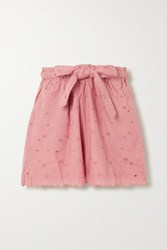 Innika Choo Wilma Butfiet Belted Broderie Anglaise Cotton Shorts Pink