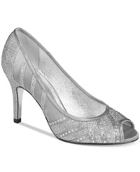 Adrianna Papell Flair Peep Toe Evening Pumps Women's Shoes Silver