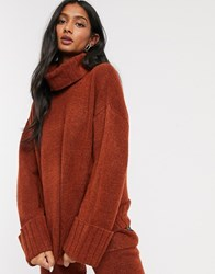 Micha Lounge Deep Rollneck Sweater Coord With Chunky Cuff Brown