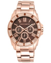 Vince Camuto Women's Rose Gold Tone Stainless Steel Bracelet Watch 43Mm Vc 5158Bnrg