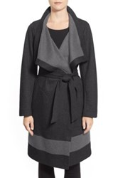 Vince Camuto Contrast Border Reversible Knit Wrap Coat Gray