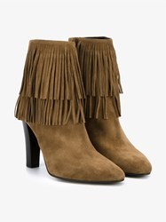 Saint Laurent Fringed Suede Ankle Boots Tan Oatmeal Cream