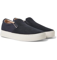 Saturdays Surf Nyc Vass Nubuck And Canvas Slip On Sneakers Midnight Blue