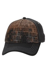 Men's True Religion Brand Jeans Perforated Leather Front Baseball Cap Black